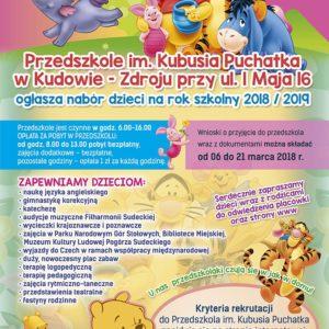 Przedszkole im. Kubusia Puchatka w Kudowie-Zdroju ogłasza nabór dzieci na rok szkolny 2018/2019