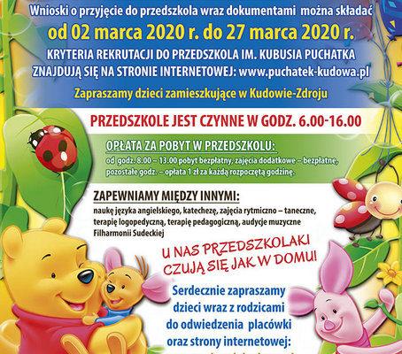 Nabór do przedszkola na rok szkolny 2020/2021
