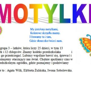Grupa Motylki, rok szkolny 2020/2021