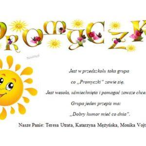 Grupa Promyczki, rok szkolny 2020/2021