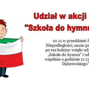 """Udział w akcji """"Szkoła do hymnu"""""""