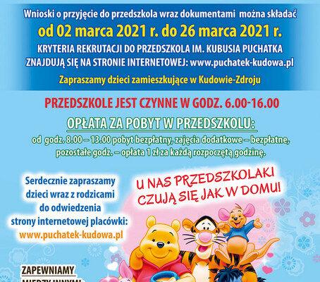 Nabór do Przedszkola na rok szkolny 2021/2022